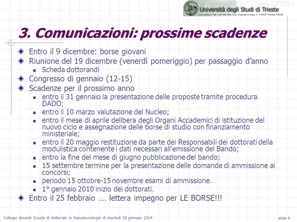 3. Comunicazioni: prossime scadenze