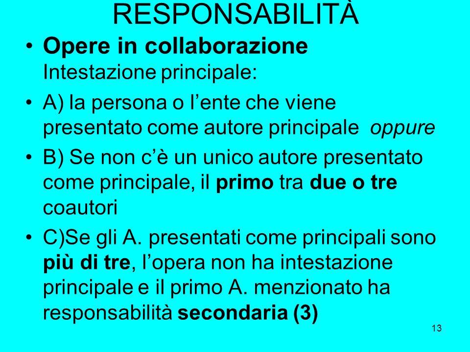RESPONSABILITÀ Opere in collaborazione Intestazione principale:
