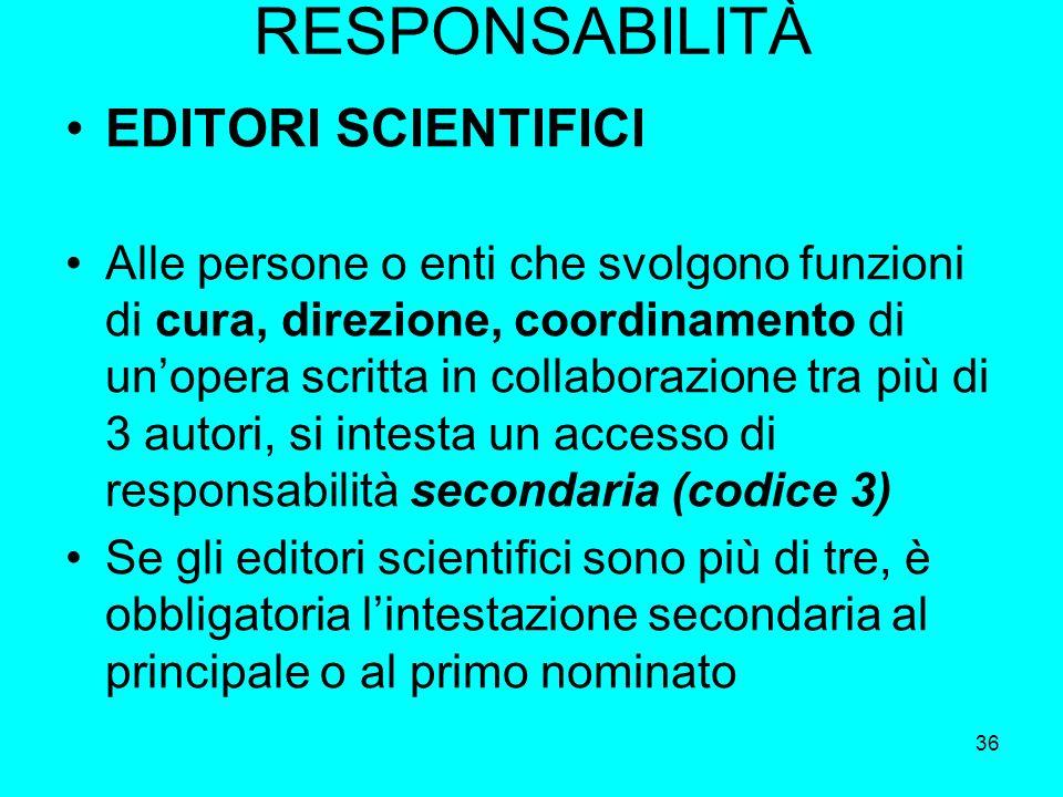 RESPONSABILITÀ EDITORI SCIENTIFICI