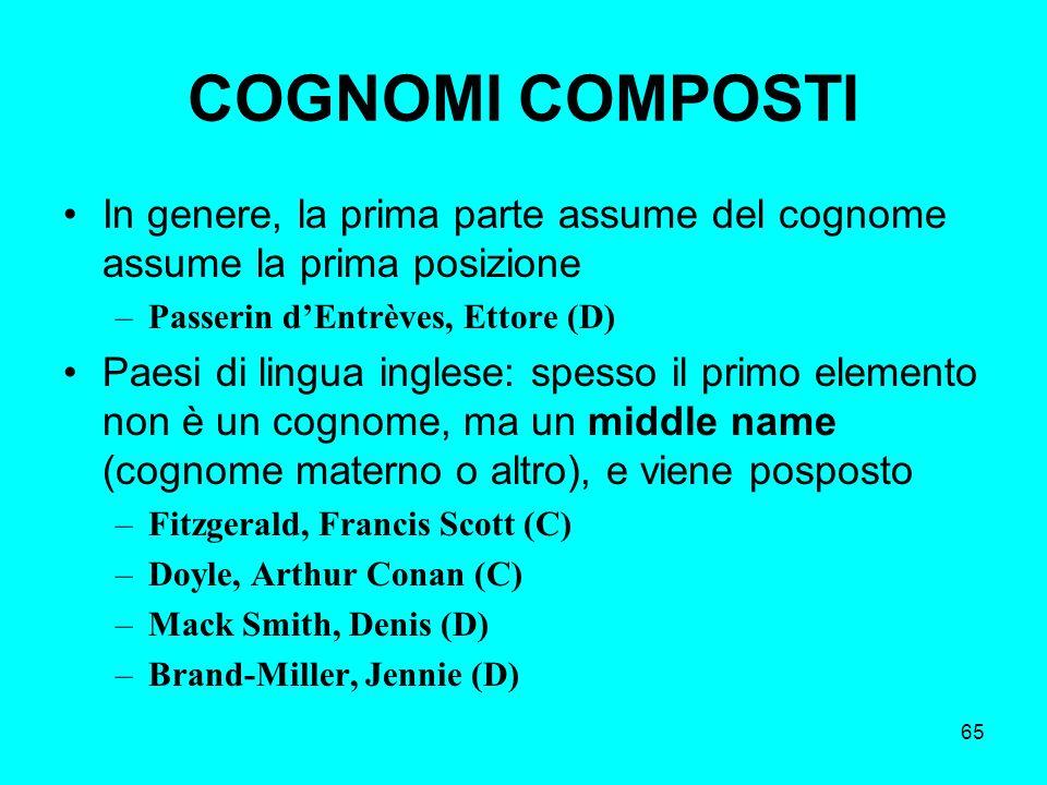 COGNOMI COMPOSTI In genere, la prima parte assume del cognome assume la prima posizione. Passerin d'Entrèves, Ettore (D)