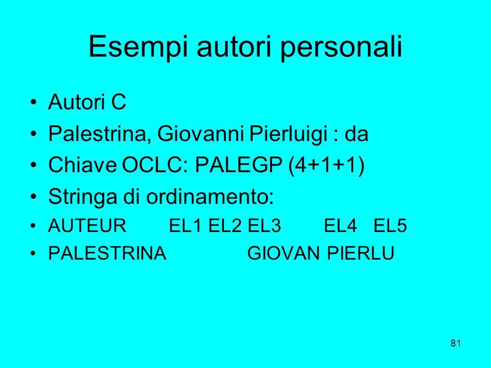 Esempi autori personali