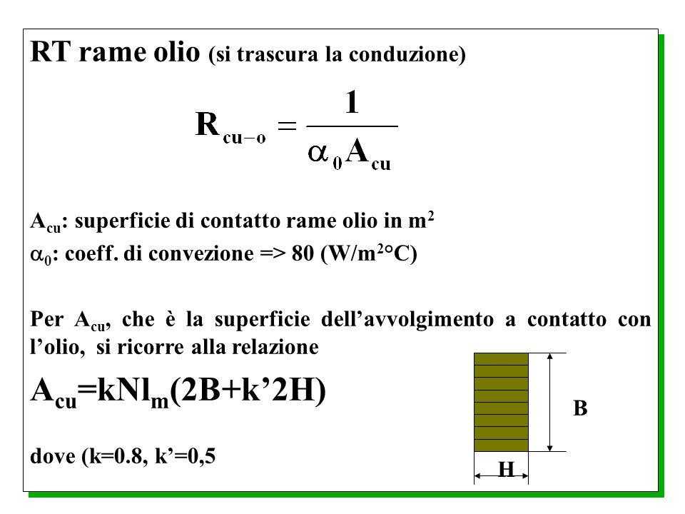 Acu=kNlm(2B+k'2H) RT rame olio (si trascura la conduzione)