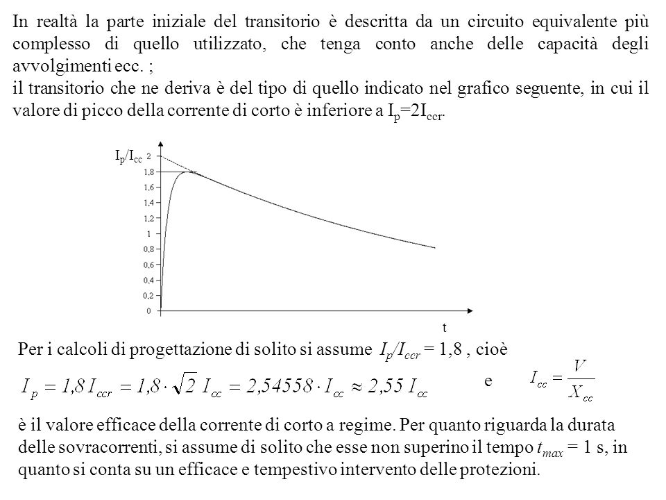 In realtà la parte iniziale del transitorio è descritta da un circuito equivalente più complesso di quello utilizzato, che tenga conto anche delle capacità degli avvolgimenti ecc. ;