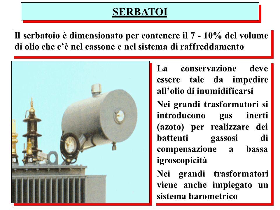 SERBATOI Il serbatoio è dimensionato per contenere il 7 - 10% del volume di olio che c'è nel cassone e nel sistema di raffreddamento.