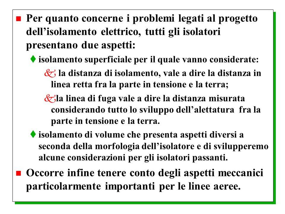 Per quanto concerne i problemi legati al progetto dell'isolamento elettrico, tutti gli isolatori presentano due aspetti: