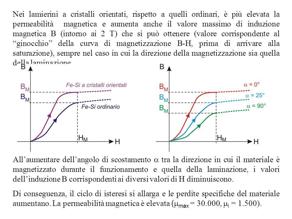 Nei lamierini a cristalli orientati, rispetto a quelli ordinari, è più elevata la permeabilità magnetica e aumenta anche il valore massimo di induzione magnetica B (intorno ai 2 T) che si può ottenere (valore corrispondente al ginocchio della curva di magnetizzazione B-H, prima di arrivare alla saturazione), sempre nel caso in cui la direzione della magnetizzazione sia quella della laminazione.