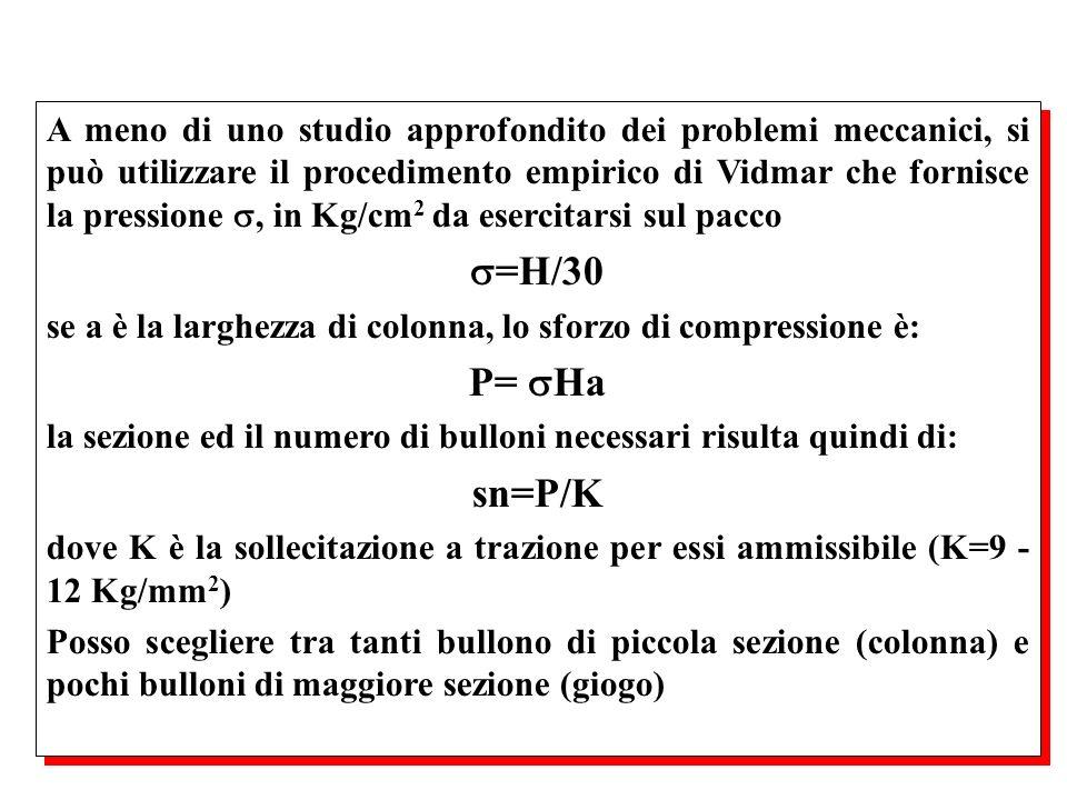 A meno di uno studio approfondito dei problemi meccanici, si può utilizzare il procedimento empirico di Vidmar che fornisce la pressione , in Kg/cm2 da esercitarsi sul pacco