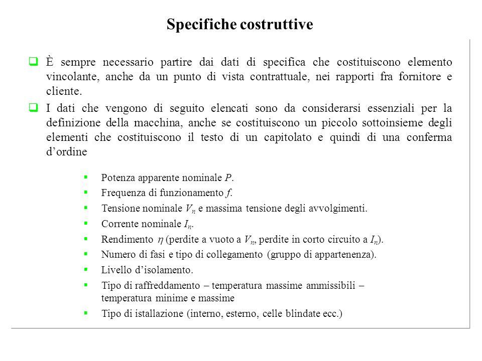 Specifiche costruttive
