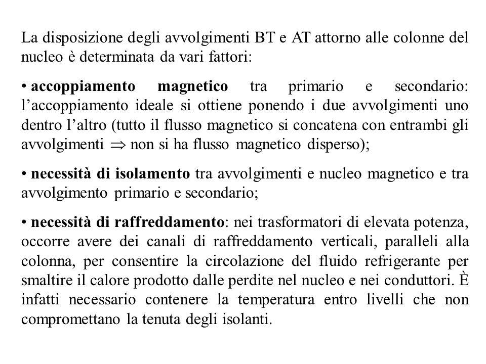 La disposizione degli avvolgimenti BT e AT attorno alle colonne del nucleo è determinata da vari fattori: