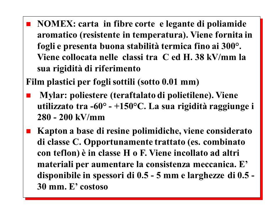 NOMEX: carta in fibre corte e legante di poliamide aromatico (resistente in temperatura). Viene fornita in fogli e presenta buona stabilità termica fino ai 300°. Viene collocata nelle classi tra C ed H. 38 kV/mm la sua rigidità di riferimento