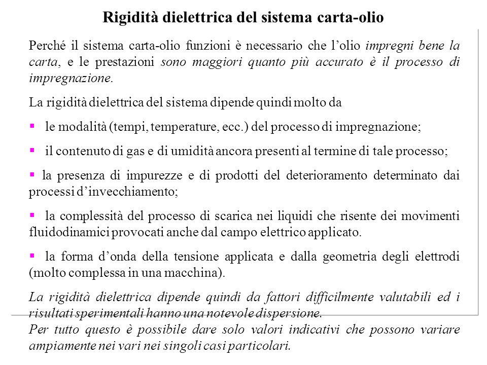 Rigidità dielettrica del sistema carta-olio