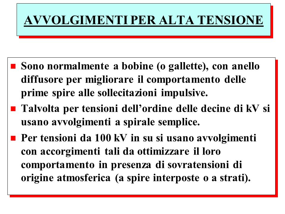 AVVOLGIMENTI PER ALTA TENSIONE