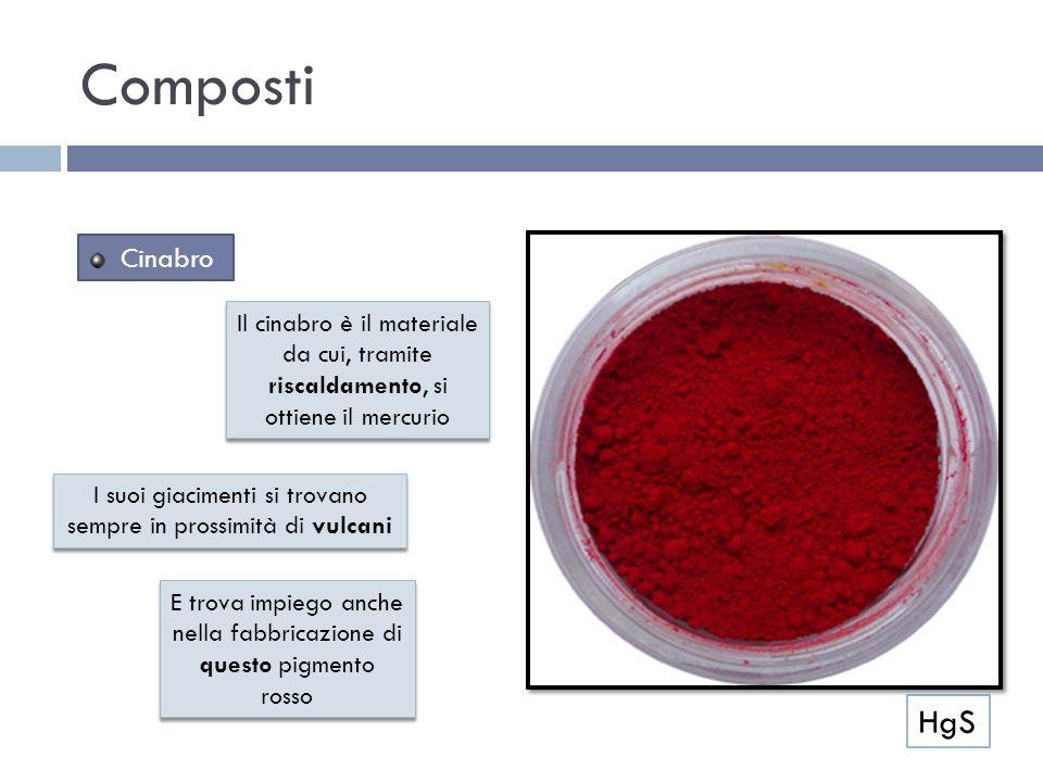 Composti Cinabro. Il cinabro è il materiale da cui, tramite riscaldamento, si ottiene il mercurio.