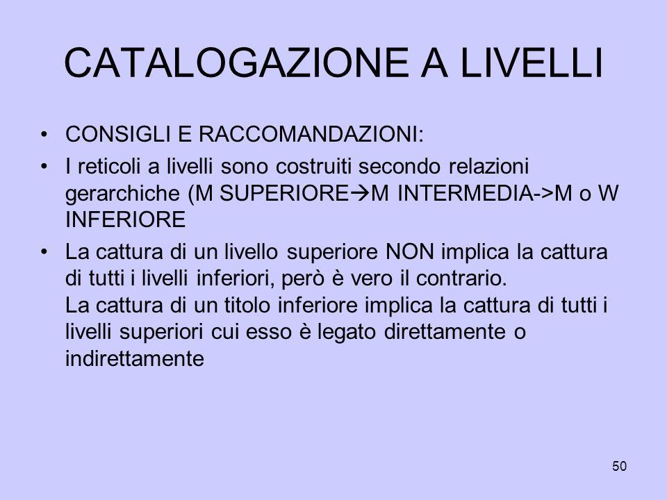 CATALOGAZIONE A LIVELLI