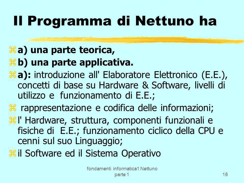 Il Programma di Nettuno ha