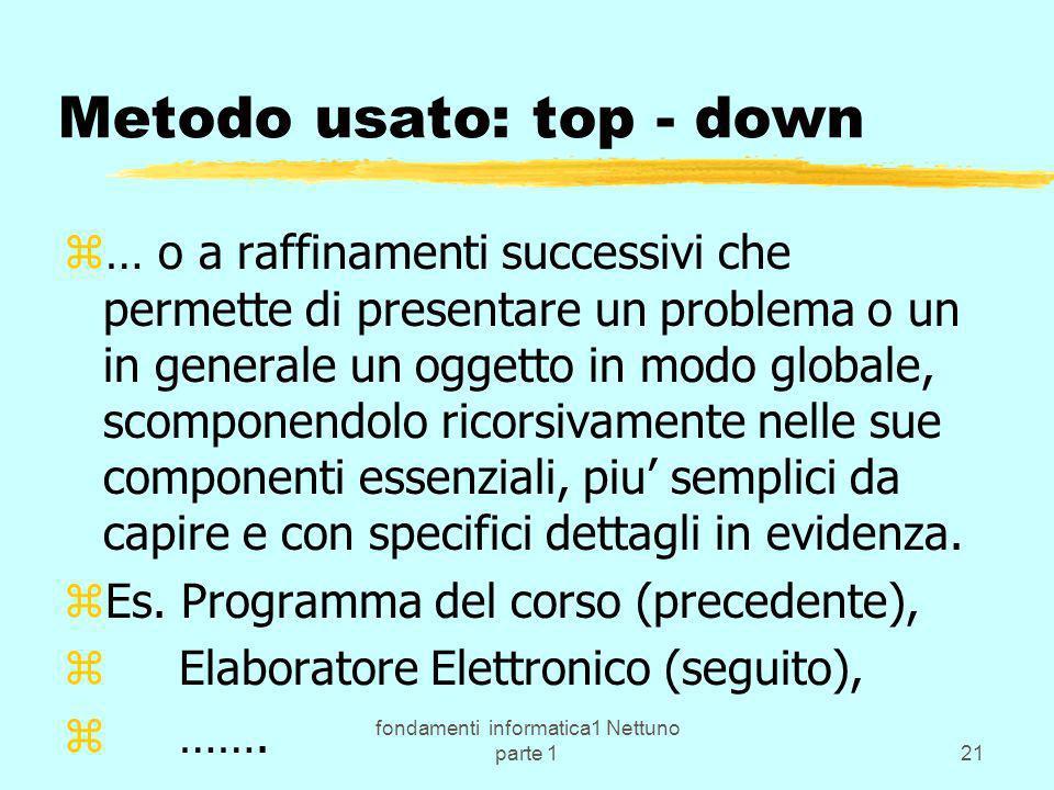 Metodo usato: top - down