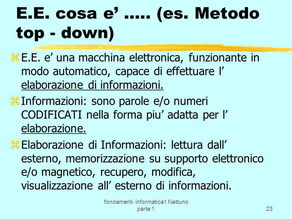 E.E. cosa e' ….. (es. Metodo top - down)