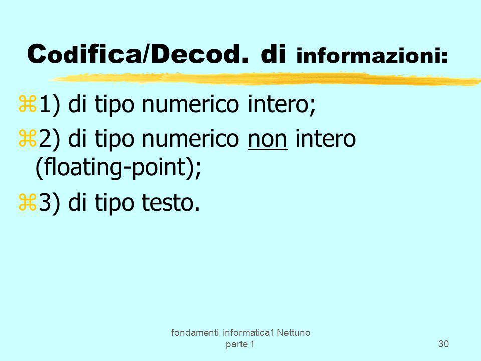 Codifica/Decod. di informazioni: