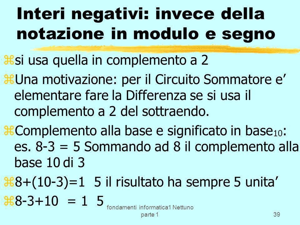 Interi negativi: invece della notazione in modulo e segno