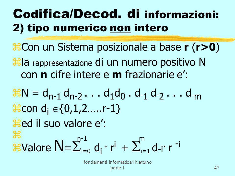 Codifica/Decod. di informazioni: 2) tipo numerico non intero