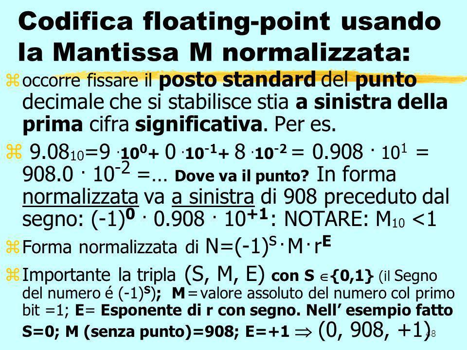 Codifica floating-point usando la Mantissa M normalizzata: