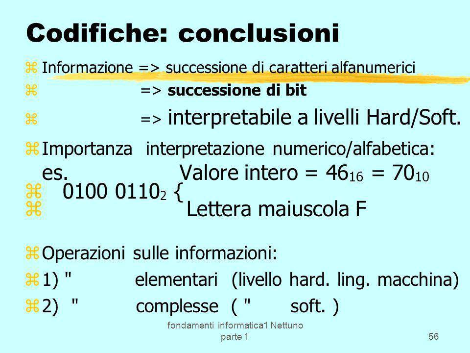 Codifiche: conclusioni
