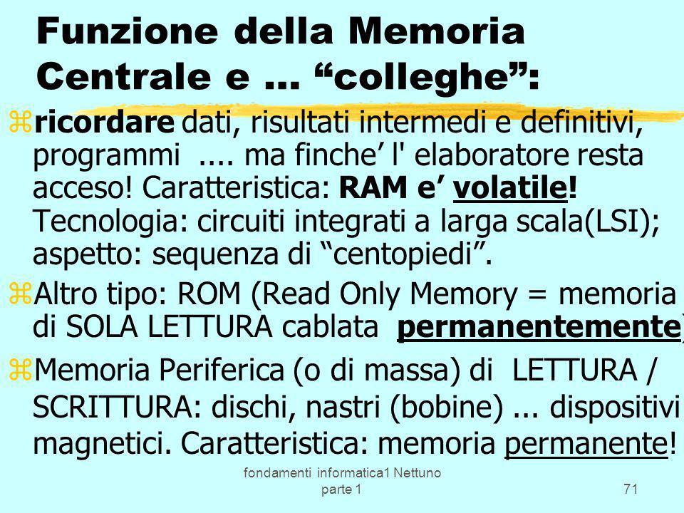 Funzione della Memoria Centrale e … colleghe :