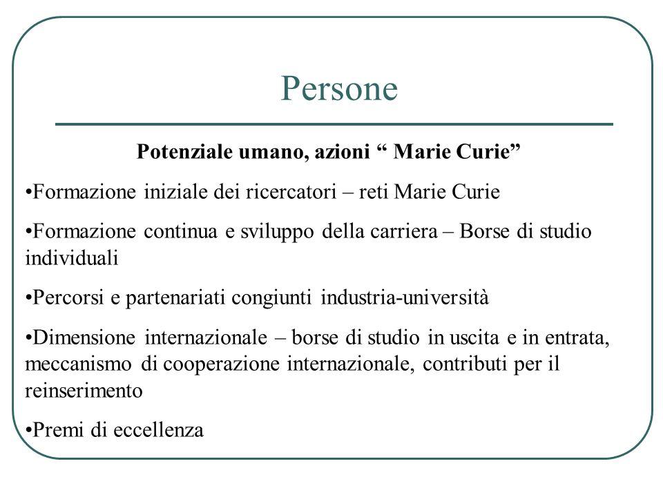 Potenziale umano, azioni Marie Curie