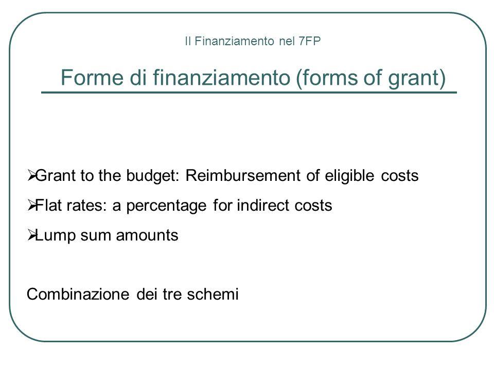 Forme di finanziamento (forms of grant)