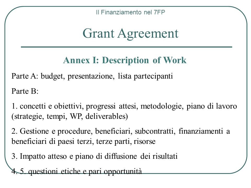 Annex I: Description of Work