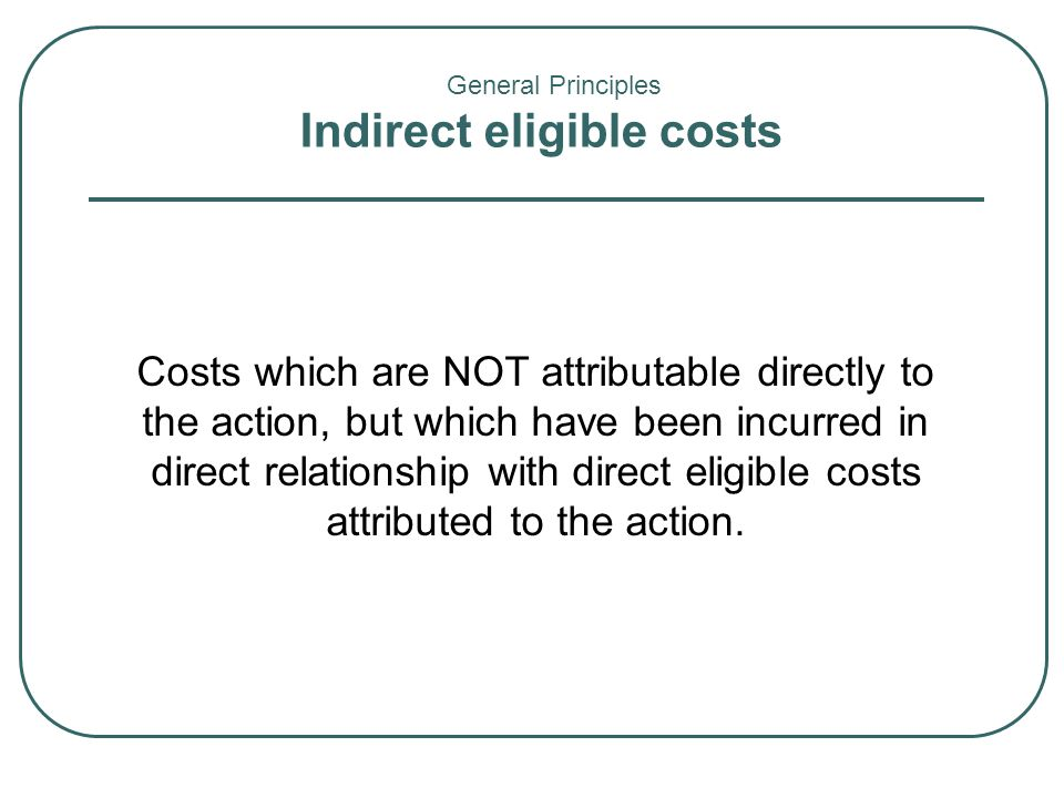 Indirect eligible costs