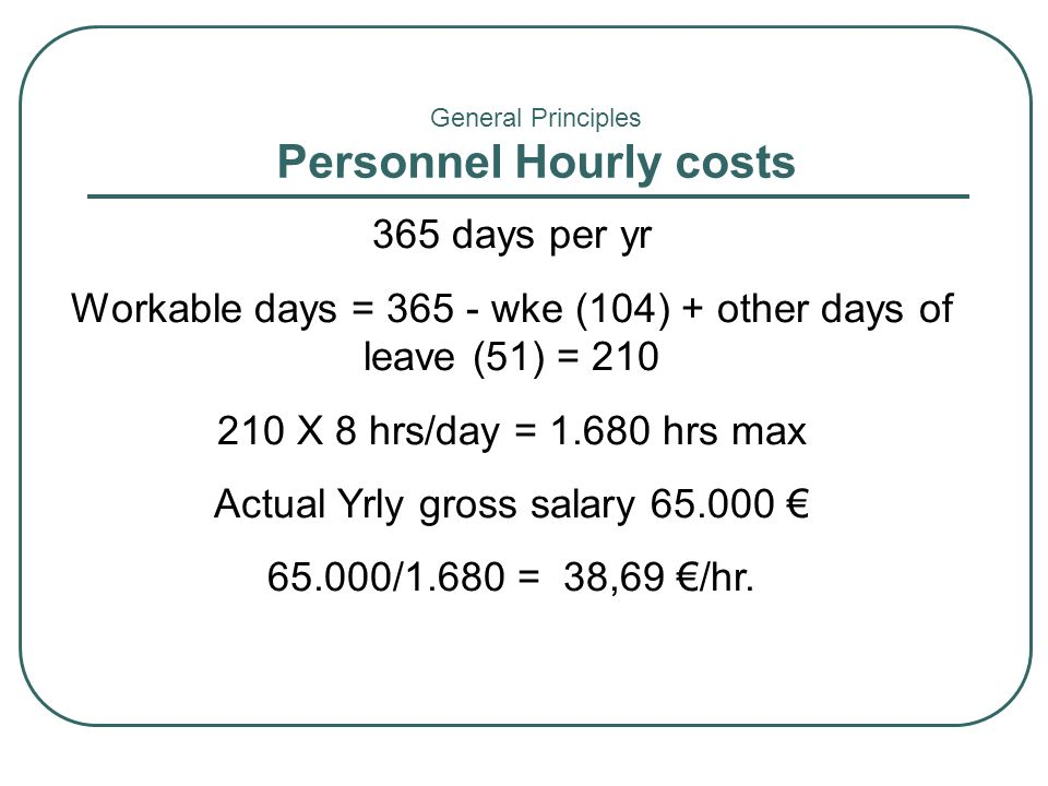 Personnel Hourly costs