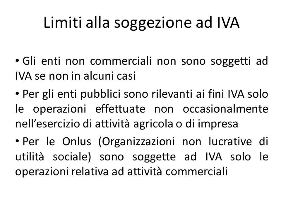 Limiti alla soggezione ad IVA