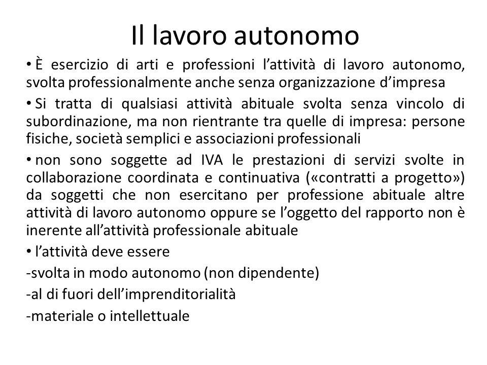 Il lavoro autonomo È esercizio di arti e professioni l'attività di lavoro autonomo, svolta professionalmente anche senza organizzazione d'impresa.