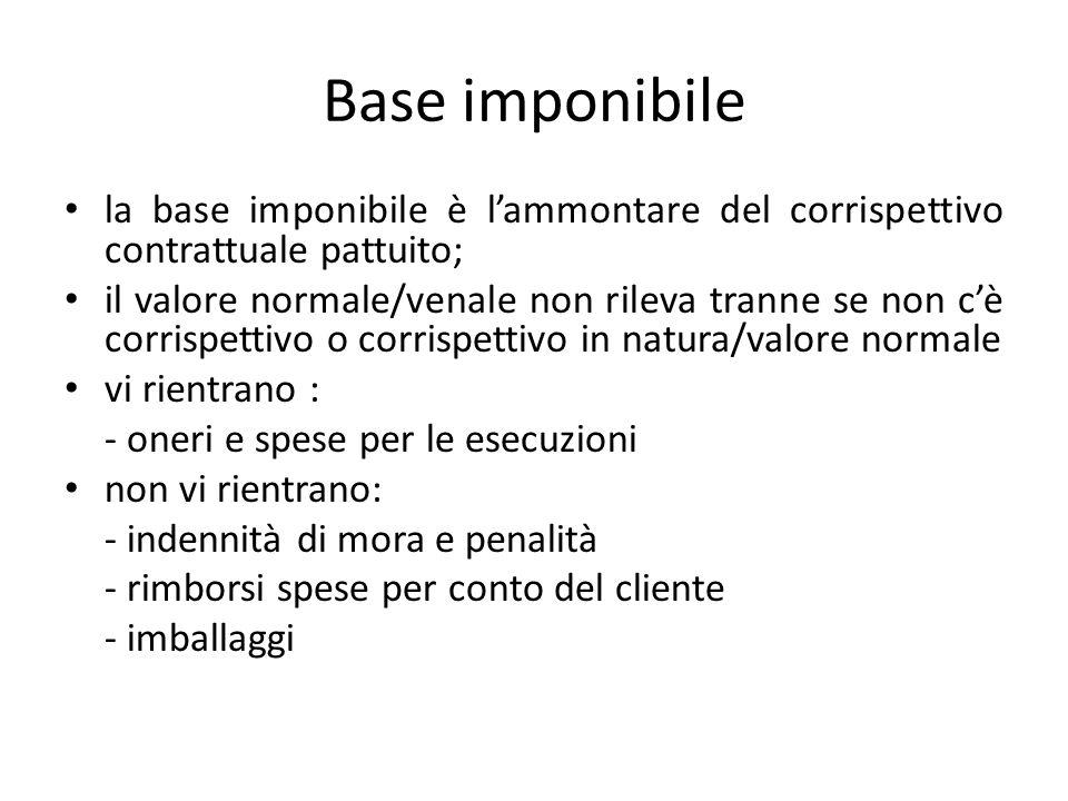 Base imponibile la base imponibile è l'ammontare del corrispettivo contrattuale pattuito;