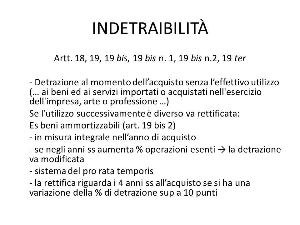 INDETRAIBILITÀ Artt. 18, 19, 19 bis, 19 bis n. 1, 19 bis n.2, 19 ter