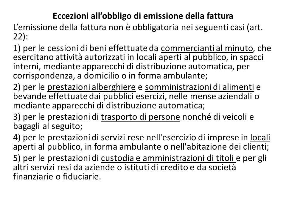 Eccezioni all'obbligo di emissione della fattura