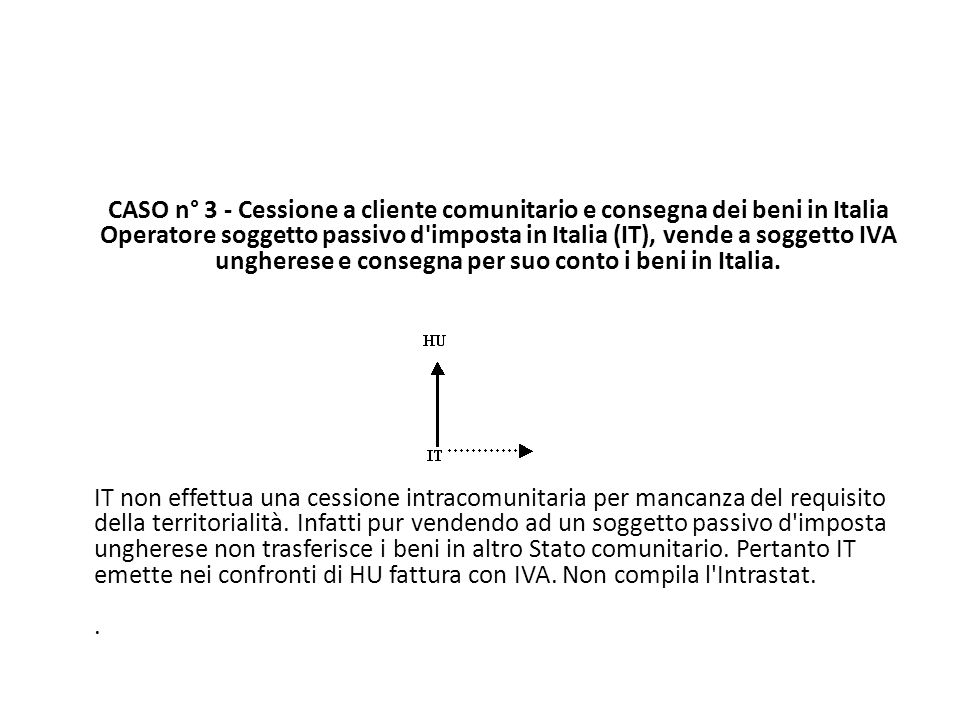 CASO n° 3 - Cessione a cliente comunitario e consegna dei beni in Italia Operatore soggetto passivo d imposta in Italia (IT), vende a soggetto IVA ungherese e consegna per suo conto i beni in Italia.