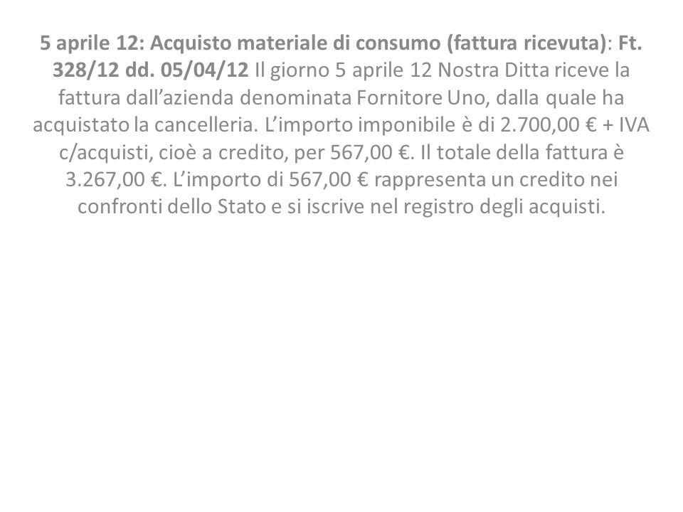 5 aprile 12: Acquisto materiale di consumo (fattura ricevuta): Ft