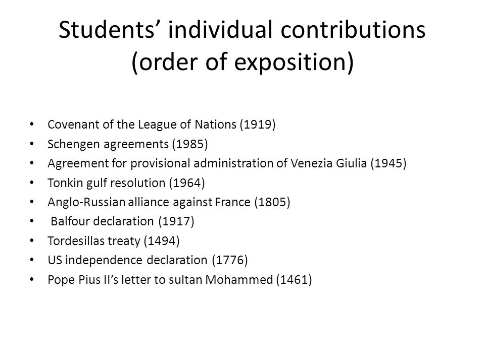 Students' individual contributions (order of exposition)