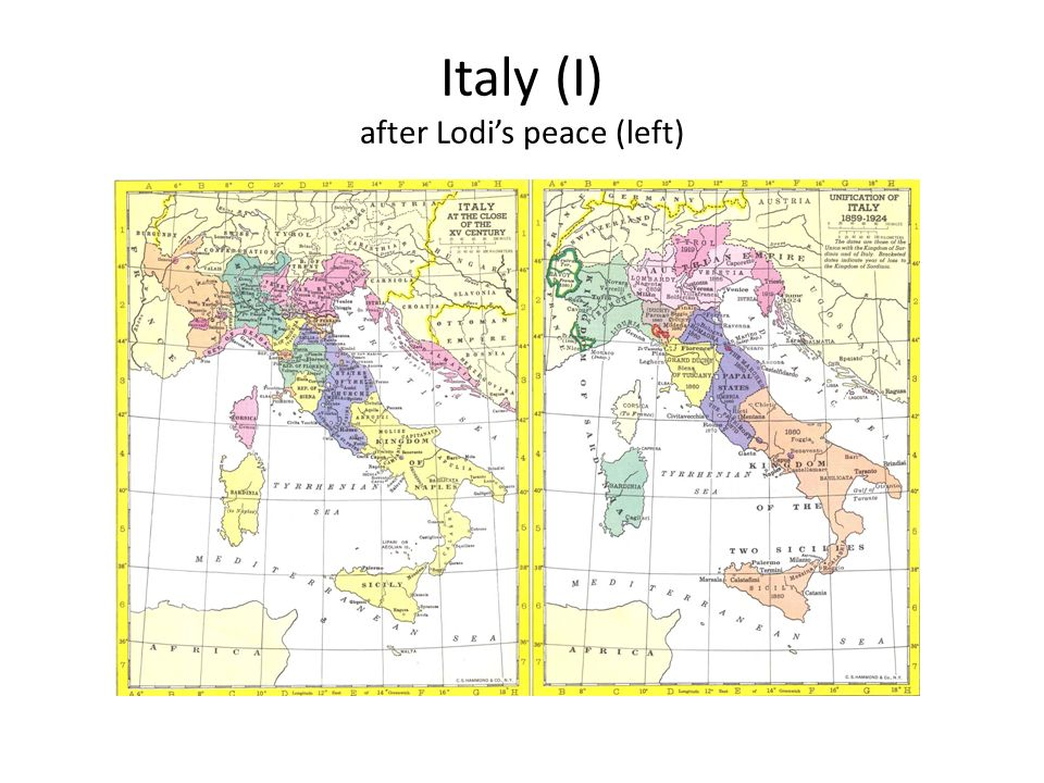 Italy (I) after Lodi's peace (left)