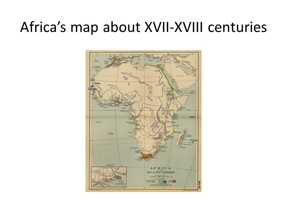 Africa's map about XVII-XVIII centuries