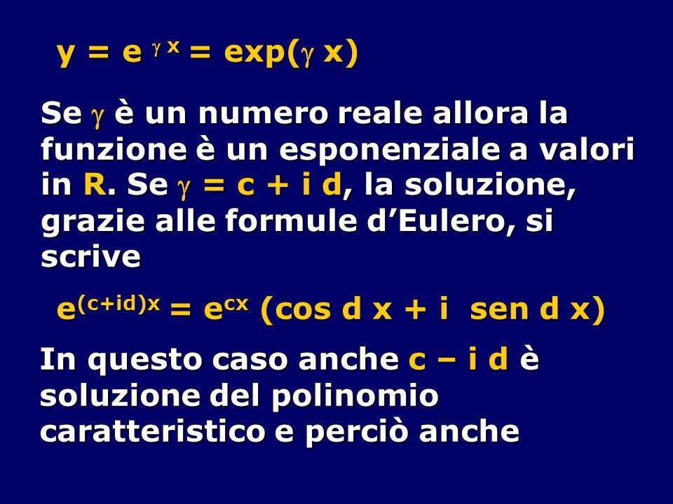y = e  x = exp( x) Se  è un numero reale allora la. funzione è un esponenziale a valori. in R. Se  = c + i d, la soluzione,