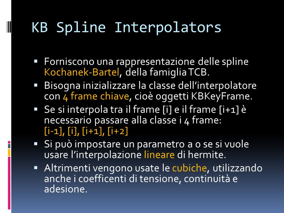 KB Spline Interpolators