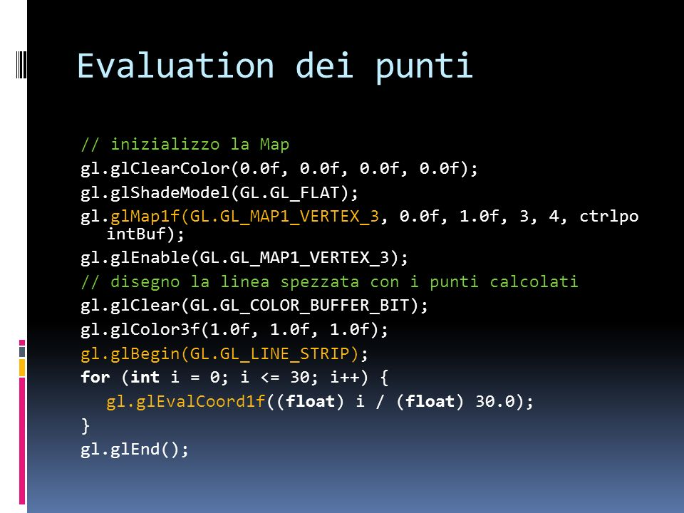 Evaluation dei punti