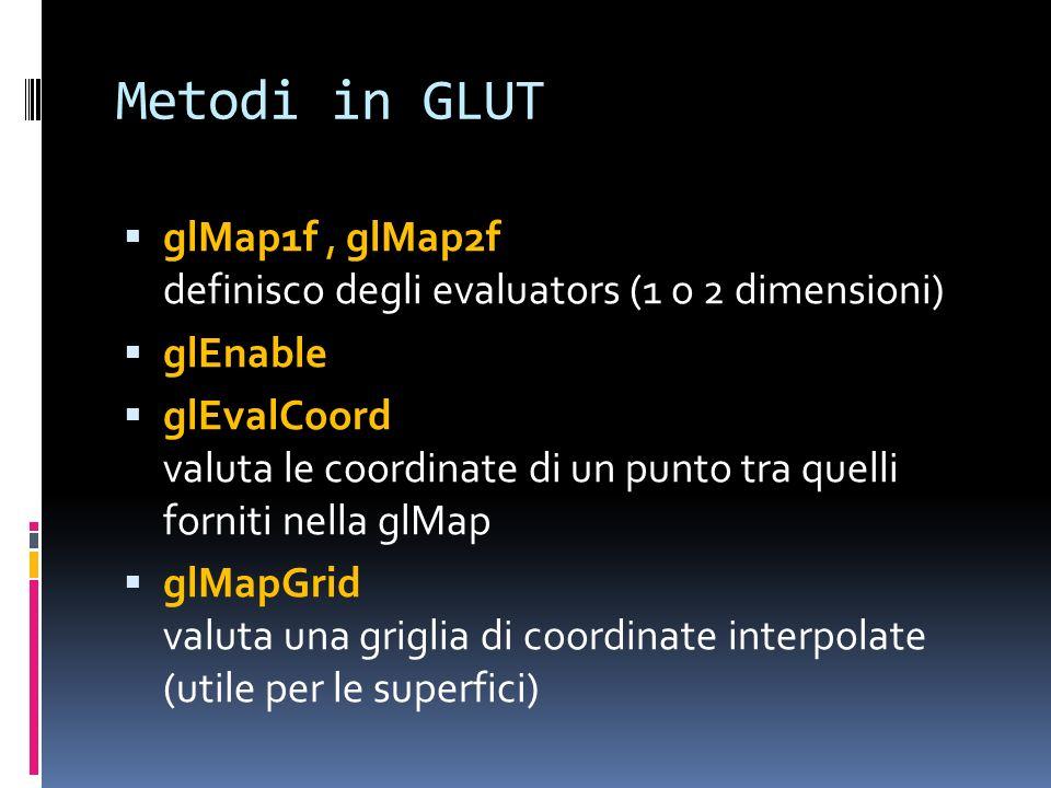 Metodi in GLUT glMap1f , glMap2f definisco degli evaluators (1 o 2 dimensioni) glEnable.