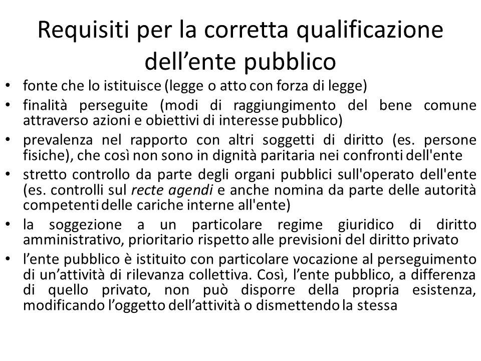 Requisiti per la corretta qualificazione dell'ente pubblico