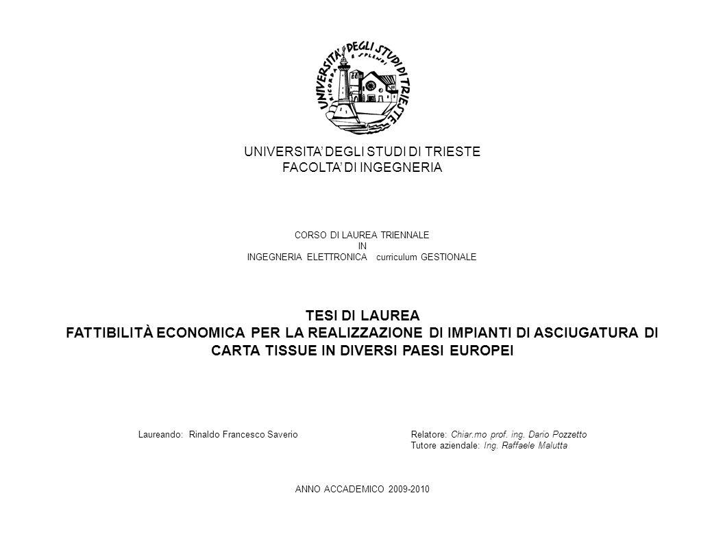 UNIVERSITA' DEGLI STUDI DI TRIESTE FACOLTA' DI INGEGNERIA CORSO DI LAUREA TRIENNALE IN INGEGNERIA ELETTRONICA curriculum GESTIONALE TESI DI LAUREA FATTIBILITÀ ECONOMICA PER LA REALIZZAZIONE DI IMPIANTI DI ASCIUGATURA DI CARTA TISSUE IN DIVERSI PAESI EUROPEI Laureando: Rinaldo Francesco Saverio Relatore: Chiar.mo prof.