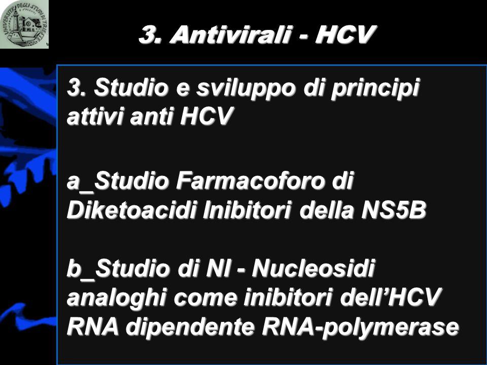 3. Antivirali - HCV 3. Studio e sviluppo di principi attivi anti HCV. a_Studio Farmacoforo di Diketoacidi Inibitori della NS5B.