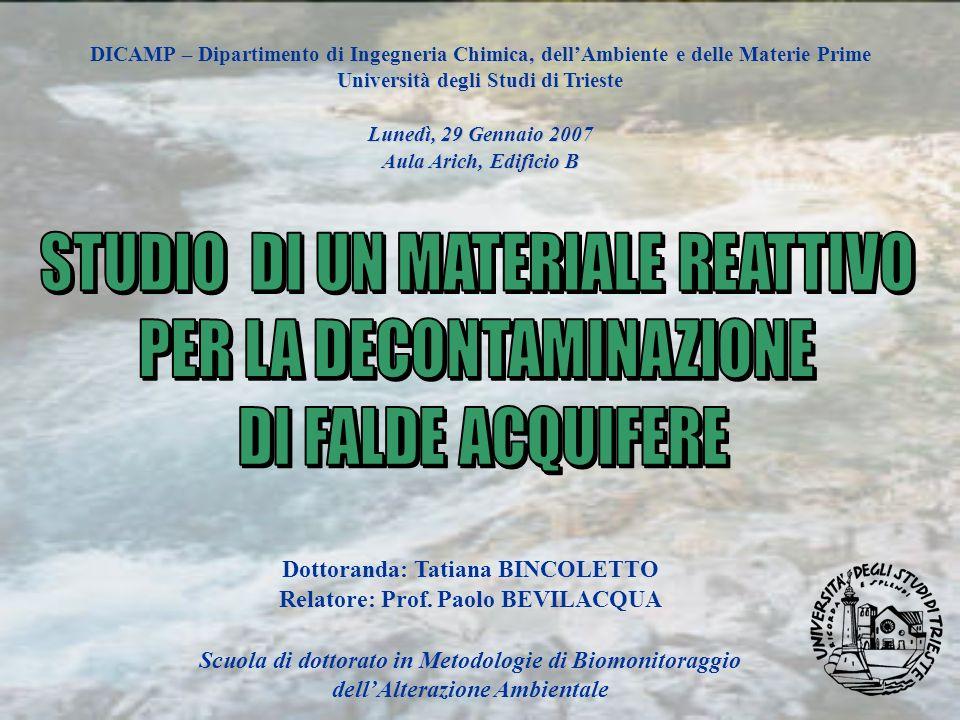 STUDIO DI UN MATERIALE REATTIVO PER LA DECONTAMINAZIONE